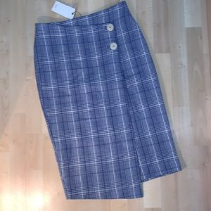 MNG by MANGO Wrap Plaid Pencil Skirt cotton & wool